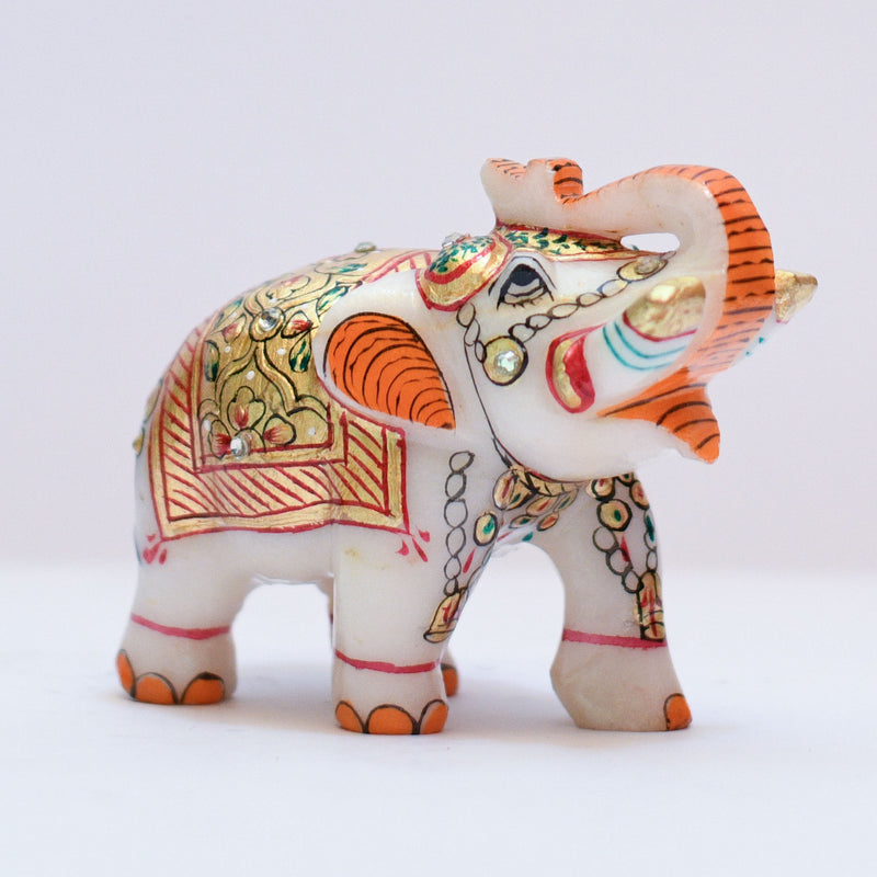 "Handcrafted 3"" Marble Elephant - Gold leaf Meenakari Art"