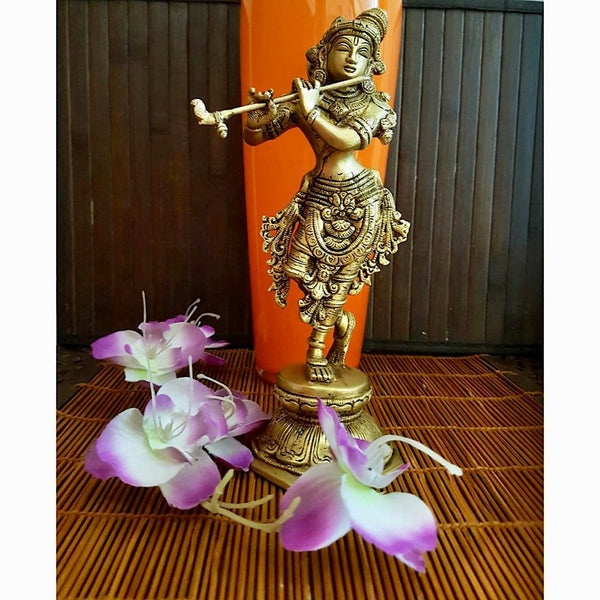 "Handcrafted 11"" Lord Krishna Brass Idol -  Decorative Figurine - Crafts N Chisel"