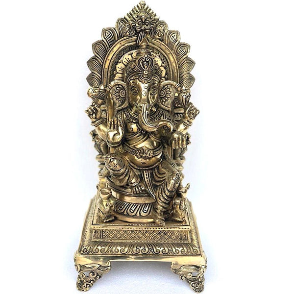 "17.5"" Lord Ganesh Brass Idol - Decorative Figurine - Crafts N Chisel - Indian home decor - Online USA"