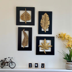 Brass Leaf Wall Hanging (Set of 4) - Crafts N Chisel - Indian home decor - Online USA