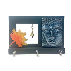 Buddha & Bell Key Holder (3 Hooks) - Wall Decor - Home Decor - Crafts N Chisel