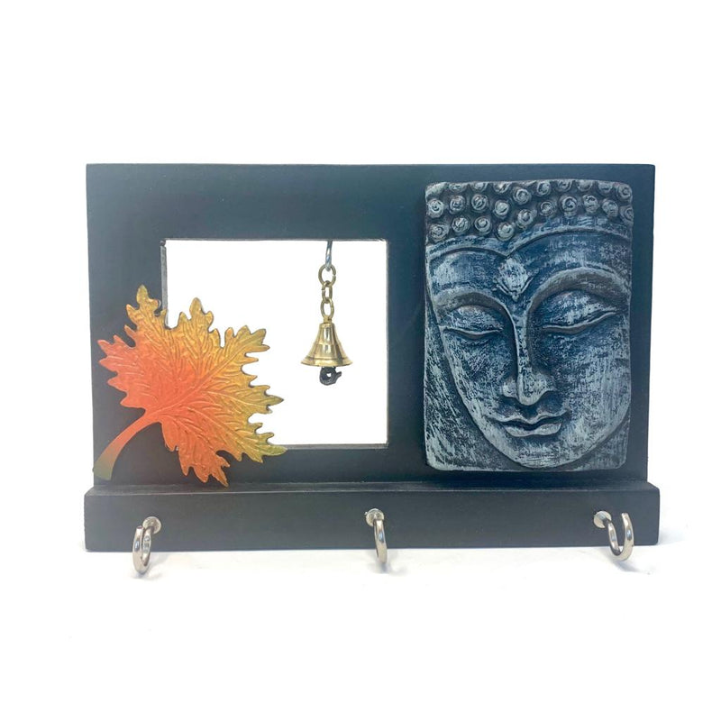 Buddha & Bell Key Holder (3 Hooks) - Wall Decor - Crafts N Chisel - Indian home decor - Online USA