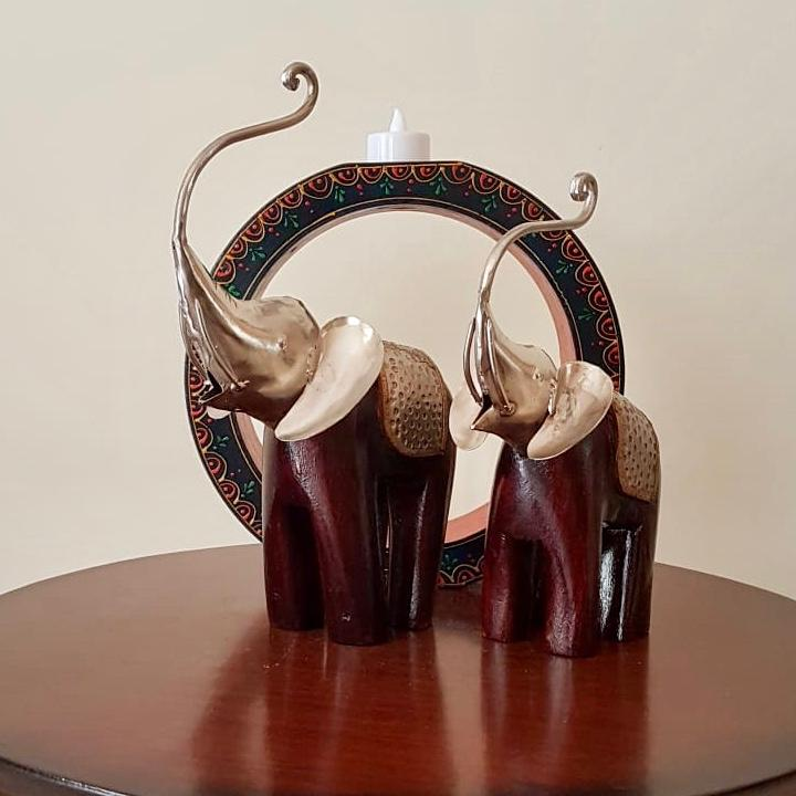 Decorative Wooden Metallic Elephant (set of 2) - Crafts N Chisel - Indian home decor - Online USA