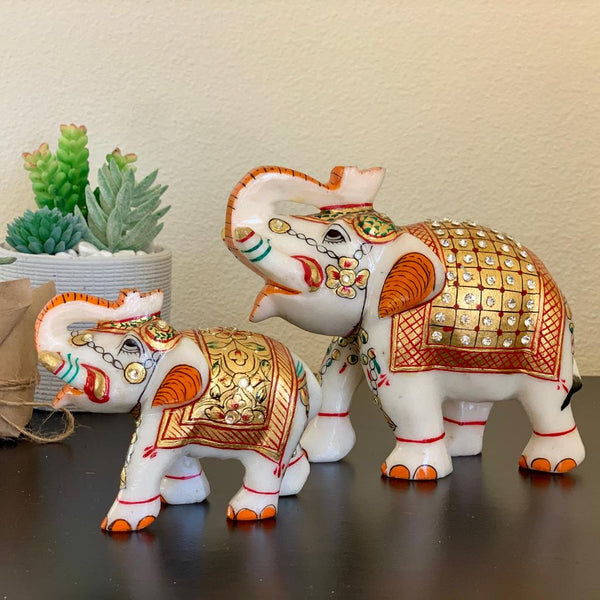 Handcrafted Marble Elephant (set of 2) - Gold leaf Meenakari Stonework - Crafts n chisel