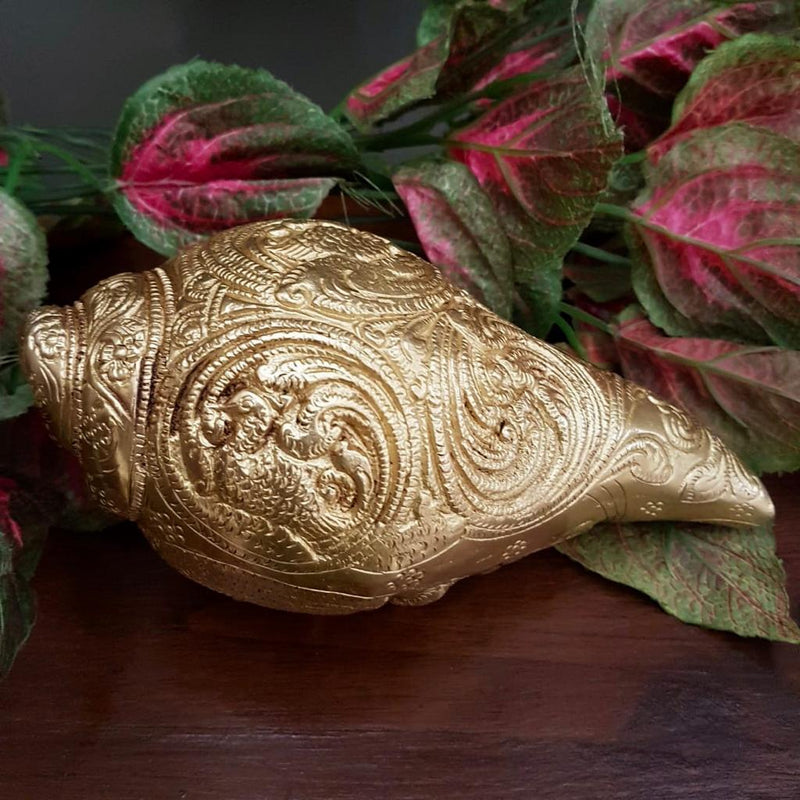 "Lord Ganesha Brass Conch (Shank) 7"" - Decorative Home Decor - Home Decor - Crafts N Chisel"