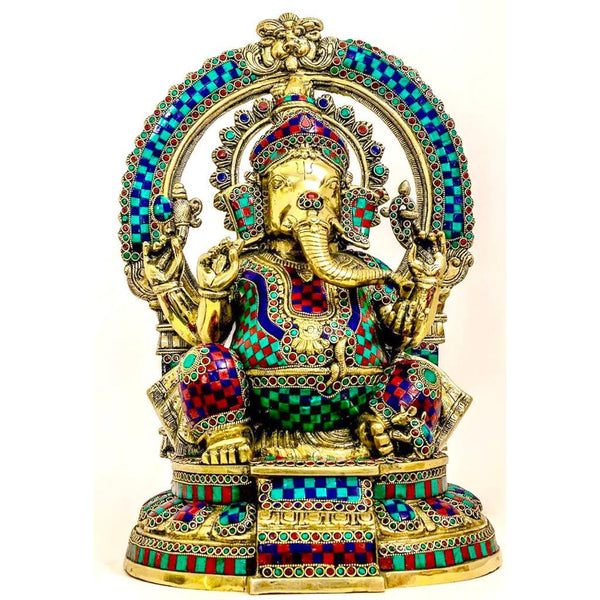 "18"" Lord Ganesh Brass Idol - handcrafted turquoise Inlay - Decorative Figurine - Home Decor - Crafts N Chisel"