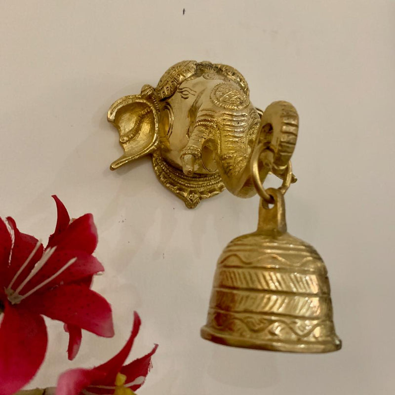 Lord Ganesh Bell - Brass Wall Hanging - Decorative and Religious - Home Decor - Crafts N Chisel