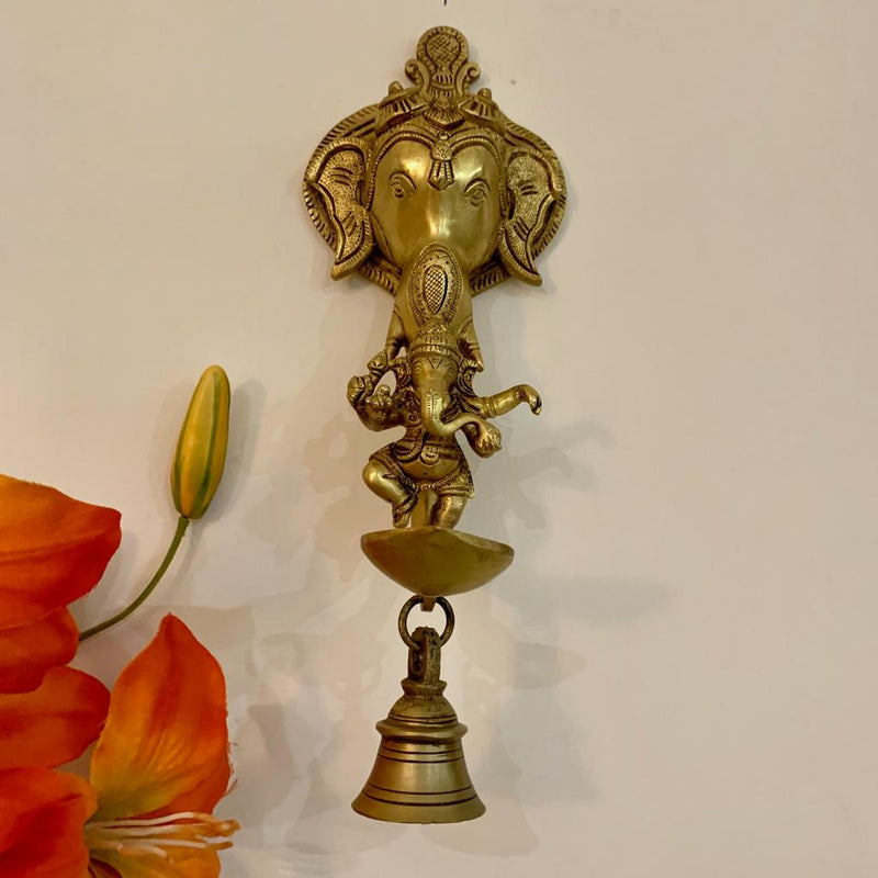 Lord Ganesh Diya and bell - Brass Art - Wall Hanging - Decorative and Religious - Crafts N Chisel - Indian home decor - Online USA