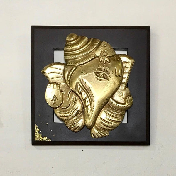 Brass Ganesha Wall Hanging with Laxmi Ganesh Bell (Set of 3) - Crafts N Chisel - Indian home decor - Online USA