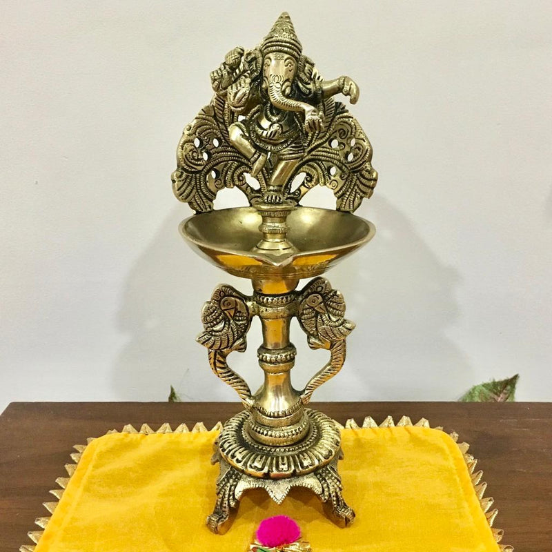 Handmade Brass Diya Lamp : Dancing Ganesha & Twin Peacock (Set of 3) - Home Decor - Crafts N Chisel