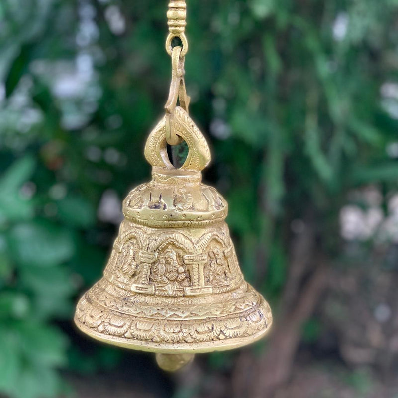 Ganesha Hanging Bell - Brass Wall Hanging - Decorative and Religious - Crafts N Chisel