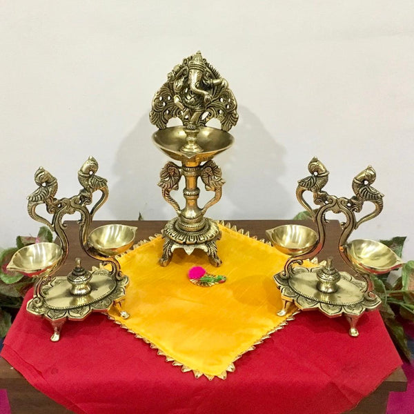 Handmade Brass Diya Lamp : Dancing Ganesha & Twin Peacock (Set of 3) - Crafts N Chisel - Indian home decor - Online USA
