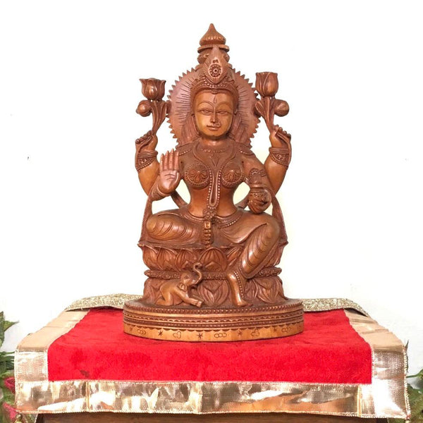 Goddess Laxmi Wooden Idol - Decorative Figurine - home decor- Crafts N chisel - hindu goddess - divine collection
