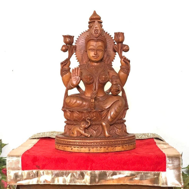 Goddess Laxmi Wooden Idol - Decorative Figurine - Crafts N Chisel - Indian home decor - Online USA