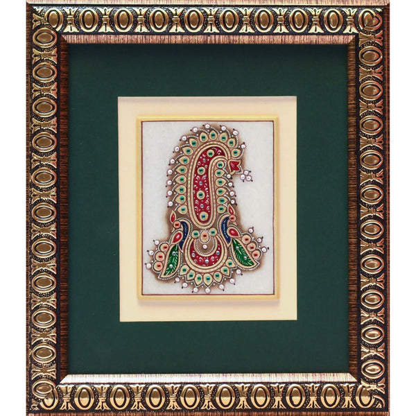 Handcrafted Jewelry Painting - Wall Hanging, Wall Decor - 22K Gold Leaf Meenakari Marble Art - housewarming gift