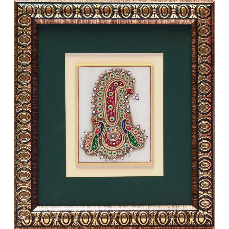 Handcrafted Jewelry Painting - Wall Hanging, Wall Decor - 22K Gold Leaf Meenakari Marble Art - Home Decor - Crafts N Chisel