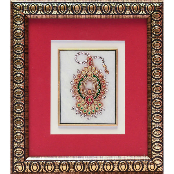 Handcrafted Jewelry Painting -  Gold Leaf Meenakari Marble Art - Wall Hanging, Wall Decor - Home Decor - Crafts N Chisel