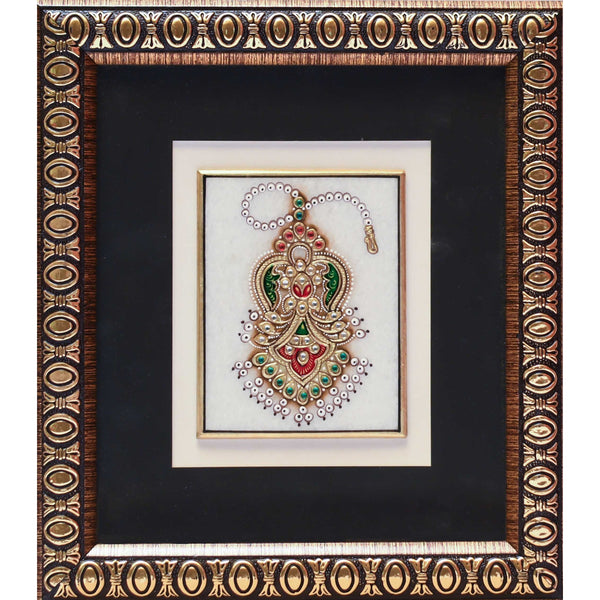 Handcrafted Jewelry Painting of Headpiece - Wall Hanging, Wall Decor - 22K Gold Leaf Meenakari Marble Art Crafts n Chisel
