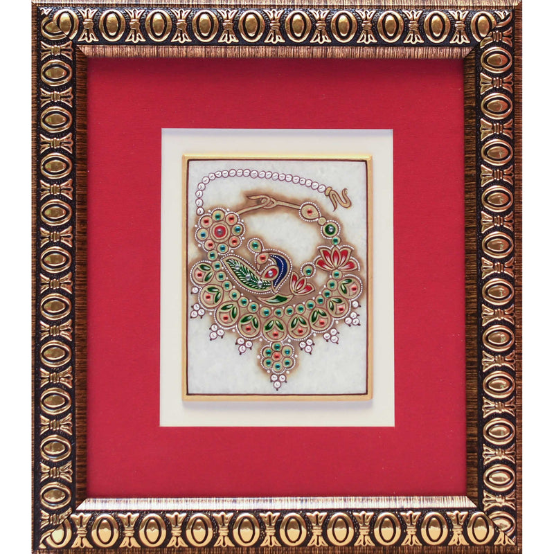 Handcrafted Jewelry Painting of Nose Ring (Nath) - Wall Hanging, Wall Decor - 22K Gold Leaf Meenakari Marble Art - crafts n chisel