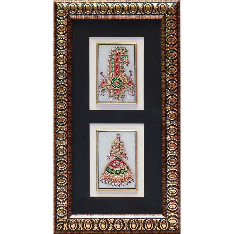 Handcrafted Jewelry Painting, Gold Leaf Meenakari Art, Two Marble Miniature - Wall decor - Home Decor - Crafts N Chisel