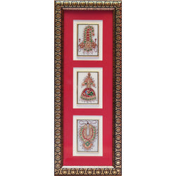 Handcrafted Jewelry Painting, Gold Leaf Meenakari Art, Three Marble Miniature - Wall decor - Crafts N Chisel - Indian home decor - Online USA