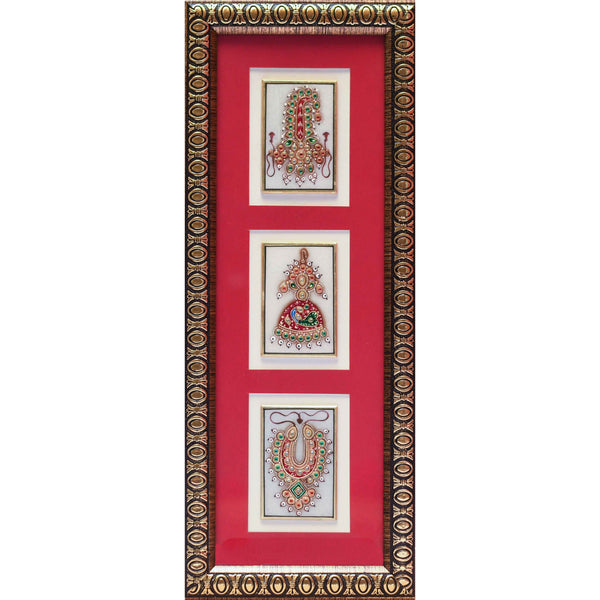 Handcrafted Jewelry Painting, Gold Leaf Meenakari Art, Three Marble Miniature - Wall decor, wall hanging, home decor - crafts n chisel