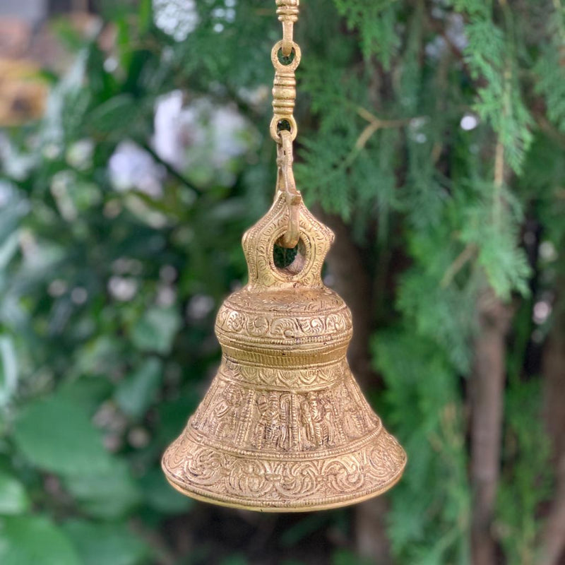 Hanging Bell - Brass Wall Hanging - Decorative and Religious - Crafts N Chisel - Indian home decor - Online USA