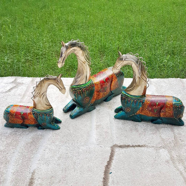 Decorative Wooden Metallic Horse (set of 3) - Home Decor - Crafts N Chisel