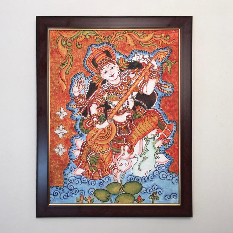 Goddess Saraswati Kerala Mural - Crafts N Chisel - Indian home decor - Online USA