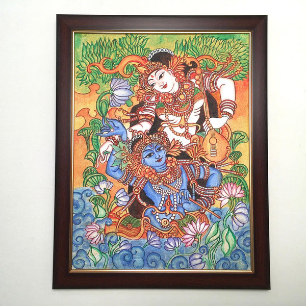 Radha Krishna Kerala Mural - Crafts N Chisel - Indian home decor - Online USA