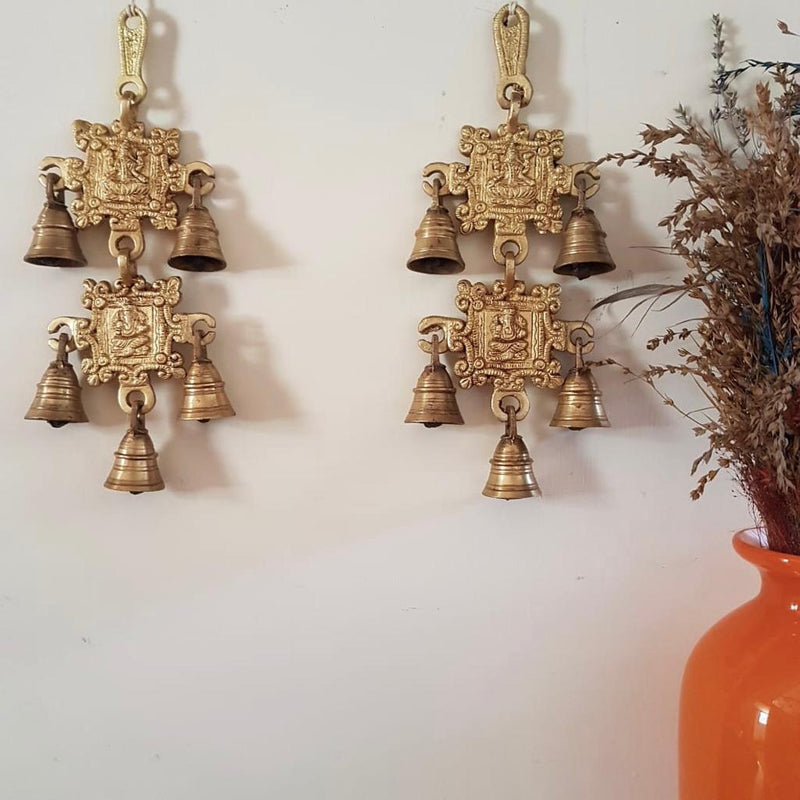 Laxmi Ganesh Brass Bell (Set of 2) - Home Decor - Crafts N Chisel