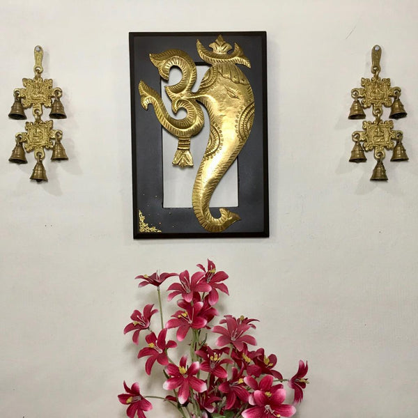 Om Ganesha Wall Hanging with Laxmi Ganesh Brass Bell (Set of 3) - Home decor - Crafts N Chisel