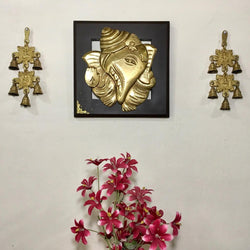 Brass Ganesha Wall Hanging with Laxmi Ganesh Bell (Set of 3) - Home Decor - Crafts N Chisel