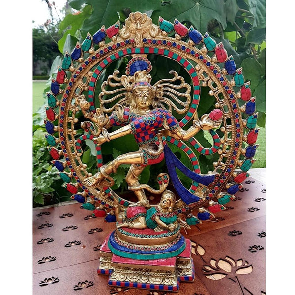 "21"" Dancing Lord Natraj Idol - handcrafted turquoise Inlay - Decorative Figurine - Home Decor - Crafts N Chisel"