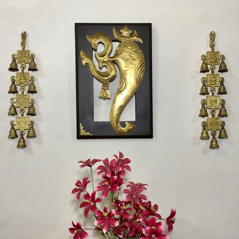 Om Ganesha Wall Hanging with Shubh Labh Laxmi Ganesh Brass Bell (Set of 3) - Home Decor - Crafts N Chisel