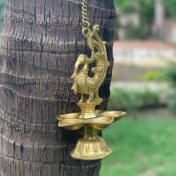 Peacock Hanging Diya - Brass Wall Hanging - Decorative and Religious - Crafts N Chisel - Indian home decor - Online USA