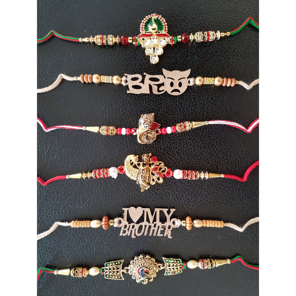 Unique and designer Rakhi Set of 6 for Bhai- Rakshabandhan Festival Celebration - Crafts N Chisel