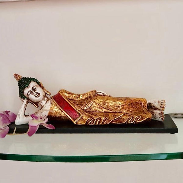 "Reclining Buddha Statue 14"" - Religious - Decorative Collectible - Crafts N Chisel - Indian home decor - Online USA"