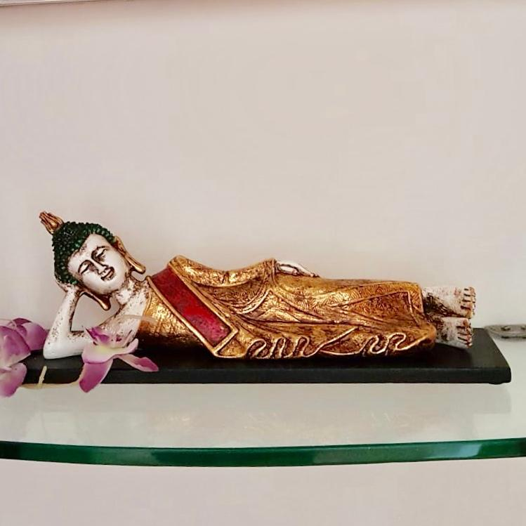 "Reclining Buddha Statue 14"" - Religious - Decorative Collectible - Home Decor - Crafts N Chisel"