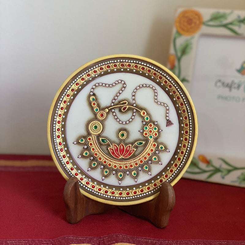"Gold Leaf Meenakari Jewelry Painting - Decorative Round Marble 6"" Plate - Crafts N Chisel"