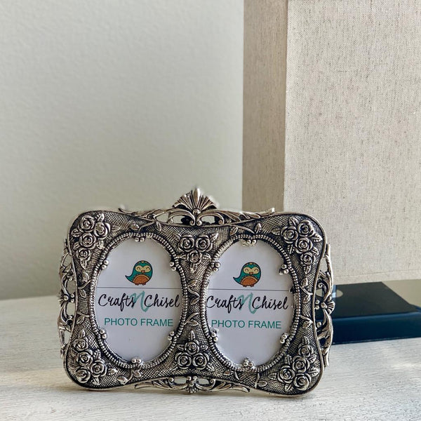 Silver Plated Antique Dual Photo Frame - Home Decor - Decorative Gift item - Home Decor - Crafts N Chisel