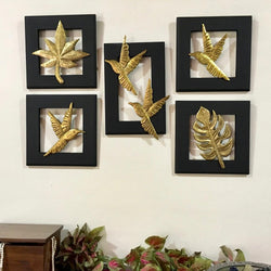 Brass Plated Flying Bird With Leaf Wall Hanging (Set of 5) - Wall Decor - Crafts N Chisel