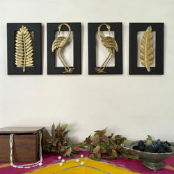 Bird With Leaf Brass Wall Hanging (Set of 4) - Crafts N Chisel - Indian home decor - Online USA