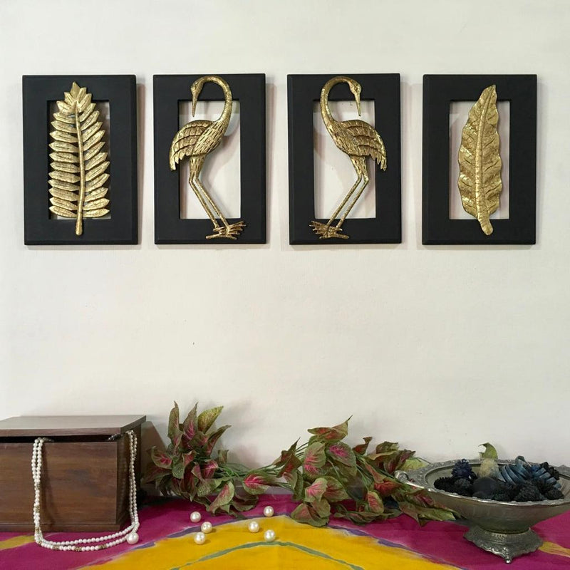 Brass Bird With Leaf Wall Hanging (Set of 4) - home decor - Crafts n chisel
