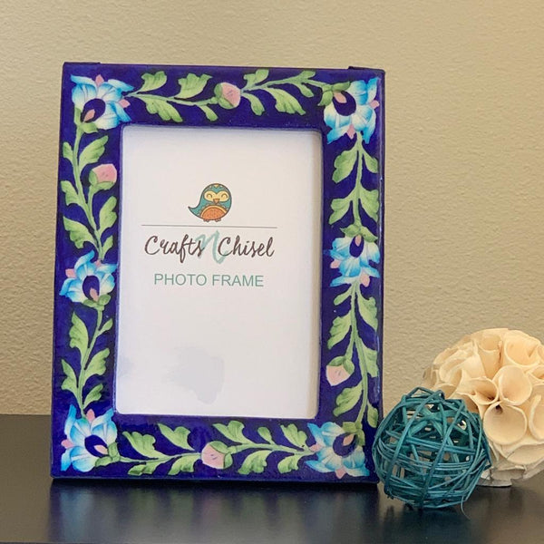 "Blue Pottery Photo Frame 9"" - Home Decor - Decorative Gift item - Crafts N Chisel - Indian home decor - Online USA"