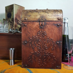 Antique 2 Bottle Treasure Chest - bottle holder - home decor - dining - Crafts N Chisel