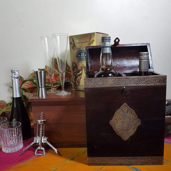 Vintage 2 Bottle Treasure Chest - Dark Brown Metallic Art - Crafts N Chisel - Indian home decor - Online USA