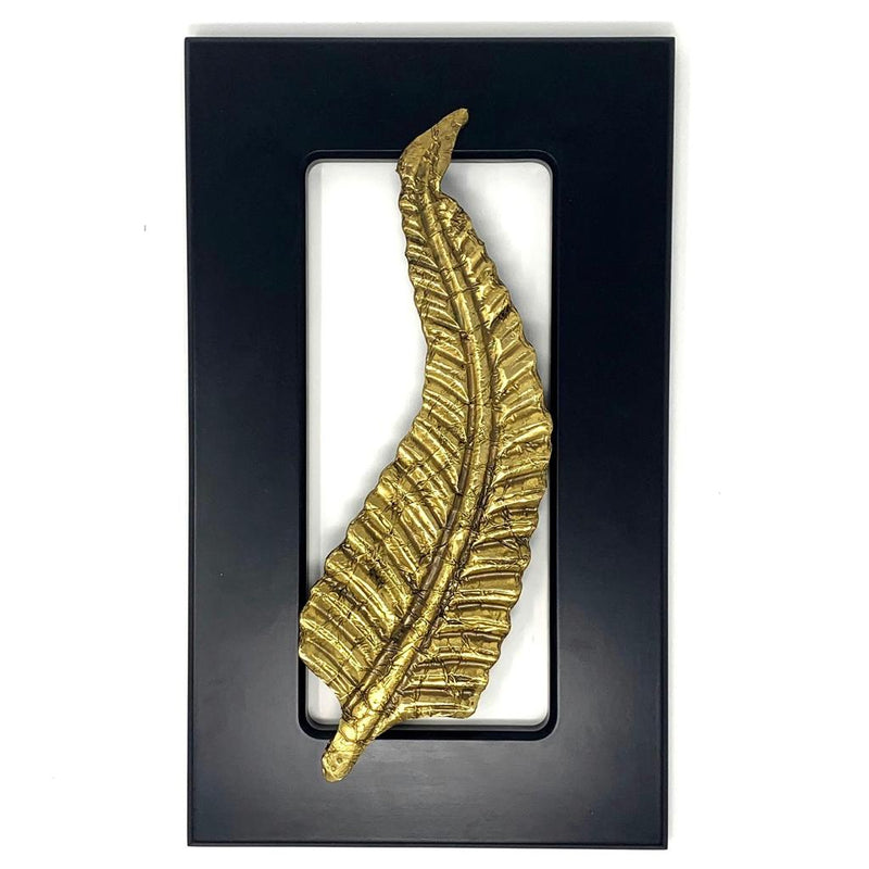 Brass Long Leaf Wall Decor - Black Wooden Frame - Wall hanging - Crafts N Chisel - Indian home decor - Online USA