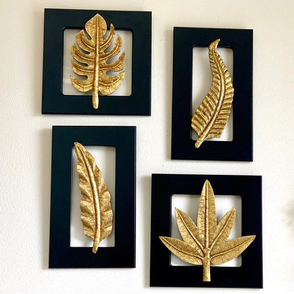 Brass Leaf Wall Hanging (Set of 4) wall decor - Crafts N chisel