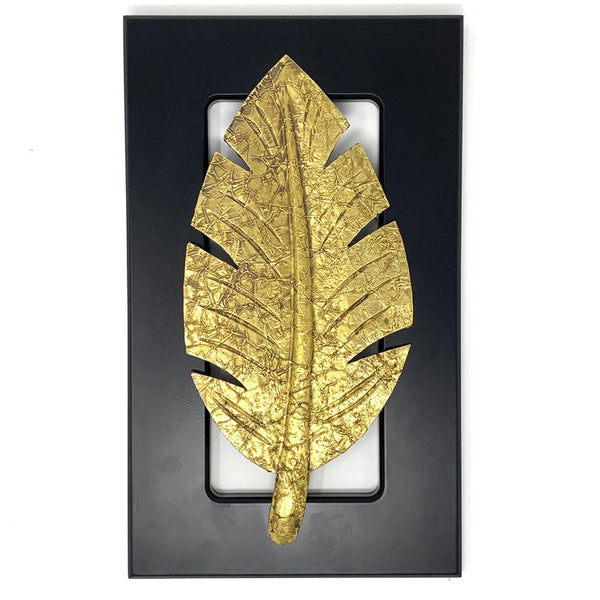 Brass leaf Wall Decor - Black Wooden frame - Wall hanging crafts n chisel
